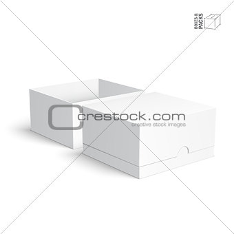 Blank paper or cardboard boxes templates on white background