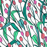 Seamless pattern with spring flowers/Red and pink tulips
