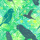 Ink hand drawn Jungle seamless pattern with Birds on Palm leaves