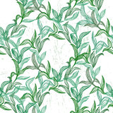 Seamless pattern with green line leaves
