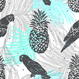 Ink hand drawn Jungle seamless pattern with Parrots