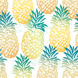 Ink hand drawn seamless pattern with pineapples
