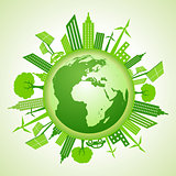 Eco earth concept with green cityscape