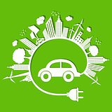 Ecology concept with eco car