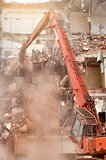 Special machine demolishes house