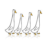 Funny goose family, sketch for your design