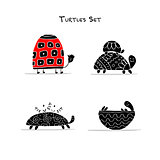 Funny turtles set, sketch for your design