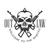 Criminal Outlaw Street Club Black And White Sign Design Template With Text, Crossed Guns And Scull