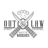 Criminal Outlaw Street Club Black And White Sign Design Template With Text, Crossed Butterfly Knives And Brass Knuckles