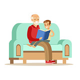 Grandfather And Boy Reading A Book, Part Of Grandparents Having Fun With Grandchildren Series