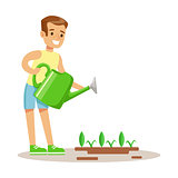 Little Boy Watering Garden Plant WIth Watering Can, Part Of Grandparents Having Fun With Grandchildren Series
