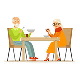 Grandfather And Grandmother Having Dinner, Part Of Grandparents Having Fun With Grandchildren Series