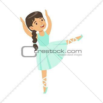 Little Girl In Blue Dress With Plat Dancing Ballet In Classic Dance Class, Future Professional Ballerina Dancer