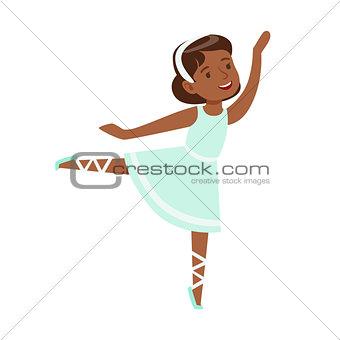 Little Girl In Blue Dress Dancing Ballet In Classic Dance Class, Future Professional Ballerina Dancer