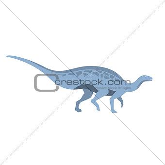 Blue Herbivorous Dinosaur Of Jurassic Period, Prehistoric Extinct Giant Reptile Cartoon Realistic Animal