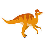 Orange Duckbill Dinosaur Of Jurassic Period, Prehistoric Extinct Giant Reptile Cartoon Realistic Animal