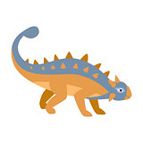 Ankylosaurus Blue And Orange Dinosaur Of Jurassic Period, Prehistoric Extinct Giant Reptile Cartoon Realistic Animal