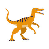 Orange Raptor Dinosaur Of Jurassic Period, Prehistoric Extinct Giant Reptile Cartoon Realistic Animal
