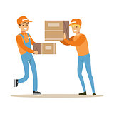 Delivery Service Workers Helping Each Other With Boxes, Smiling Courier Delivering Packages Illustration