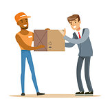 Delivery Service Worker Bringing Box To Office Worker, Smiling Courier Delivering Packages Illustration