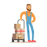 Beardy Delivery Service Worker With Loaded Cart, Smiling Courier Delivering Packages Illustration