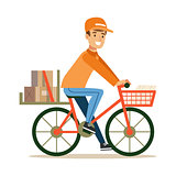 Delivery Service Worker Delivering Boxes With Bycicle, Smiling Courier Delivering Packages Illustration