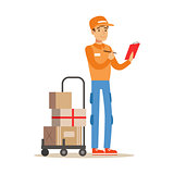 Delivery Service Worker Crossing Out Address From Check List, Smiling Courier Delivering Packages Illustration