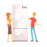 Woman Choosing Fridge With Shop Assistant Help, Department Store Shopping For Domestic Equipment And Electronic Objects For Home