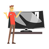 Shop Assistant Selling Wide TV Screen, Department Store Shopping For Domestic Equipment And Electronic Objects For Home