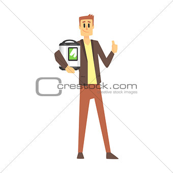 Man Holding Slow Rice Cooker, Department Store Shopping For Domestic Equipment And Electronic Objects For Home
