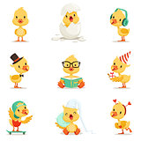 Little Yellow Duckling Different Emotions And Situations Set Of Cute Emoji Illustrations
