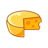 Swiss Cheeze Head With Holes, Food Item Outlined Isolated Childish Icon For Flash Game Design Or Slot Machine