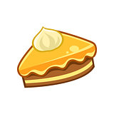 Piece Of Chocolate And Caramel Cake, Food Item Outlined Isolated Childish Icon For Flash Game Design Or Slot Machine