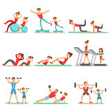 Parent And Child Doing Sportive Exercises And Sport Training Together Having Fun Series Of Scenes