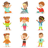 Young Children Dressed In Cute Kids Fashion Clothes, Set Of Illustrations With Kids And Style