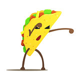 Mexican Taco Street Fighter, Fast Food Bad Guy Cartoon Character Fighting Illustration