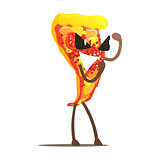 Margarita Pizza Slice Street Fighter, Fast Food Bad Guy Cartoon Character Fighting Illustration