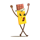 Chocolate Bar Half Unwrapped Street Fighter, Fast Food Bad Guy Cartoon Character Fighting Illustration
