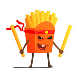 Pack Of Fries With Two Sticks Karate Fighter, Fast Food Bad Guy Cartoon Character Fighting Illustration
