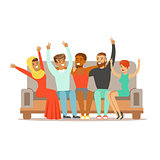 Young Friends From All Around The World Cheering On Sofa, Happy International Friendship Vector Cartoon Illustration
