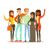 Young Friends From All Around The World Standing Posing For Photo, Happy International Friendship Vector Cartoon Illustration