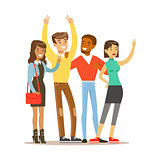 Young Friends From All Around The World Standing To Take Picture, Happy International Friendship Vector Cartoon Illustration