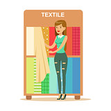 Woman Choosing Textile Drapers, Smiling Shopper In Furniture Shop Shopping For House Decor Elements