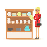 Woman Choosing Tableware, Smiling Shopper In Furniture Shop Shopping For House Decor Elements