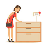 Woman Buying A Wooden Dresser, Smiling Shopper In Furniture Shop Shopping For House Decor Elements