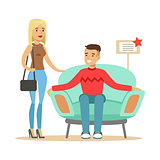 Couple Choosing Armchair For Living Room, Smiling Shopper In Furniture Shop Shopping For House Decor Elements
