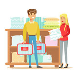 Couple Buying Bedsheets For Bedroom, Smiling Shopper In Furniture Shop Shopping For House Decor Elements