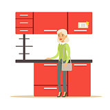 Woman Buying Red Kitchen Set, Smiling Shopper In Furniture Shop Shopping For House Decor Elements