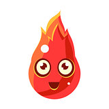 Red Fire Element In FlamesEgg-Shaped Cute Fantastic Character With Big Eyes Vector Emoji Icon