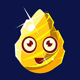 Golden Egg-Shaped Cute Fantastic Character With Big Eyes Vector Emoji Icon